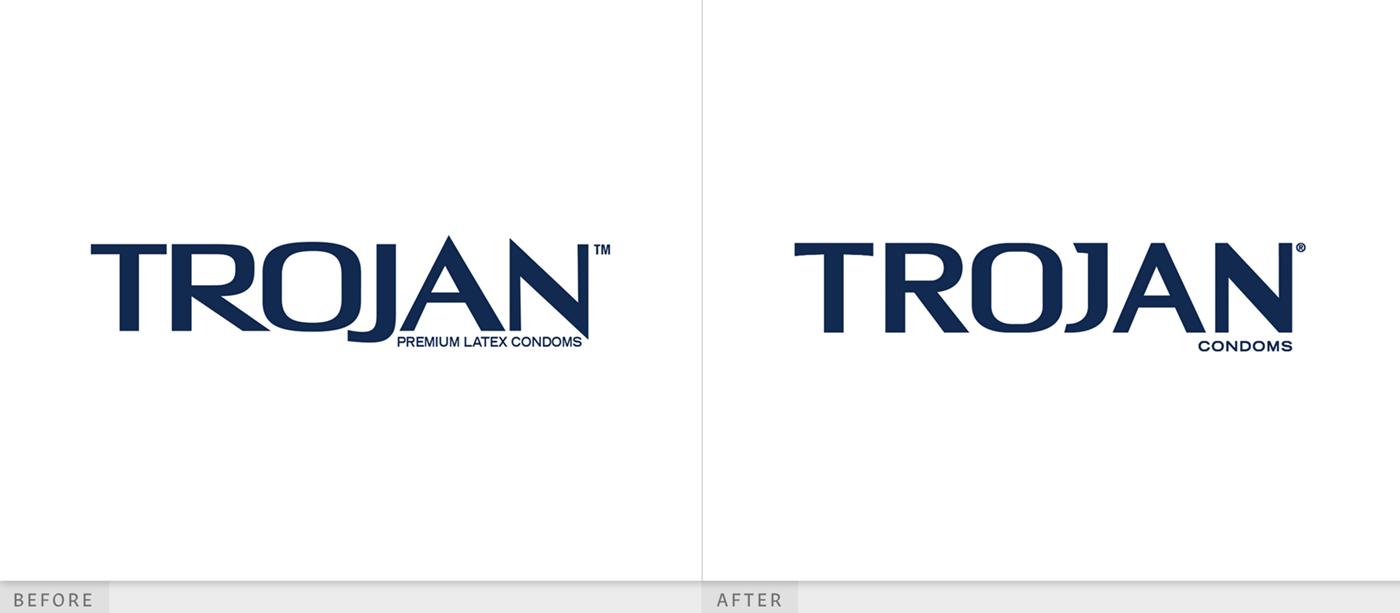 特洛伊木有趣的避孕套logo设计和包装设计创新