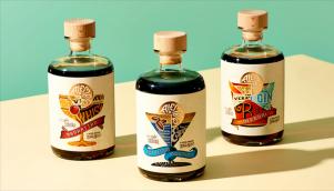 鸡尾酒新品牌包装设计由品牌设计公司提供混合的原理中汲取了灵感